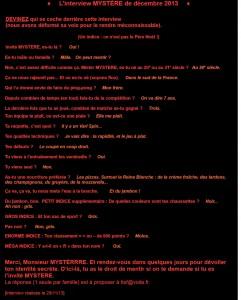 Invité MYSTÈRE : interview n°23 du 11 décembre 2013